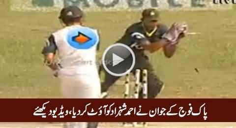 Pak Fauj Ke Jawan Ne Ahmad Shahzad Ko Out Kardiya, Watch Exclusive Video