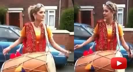 Pakistani Punjabi Girl Beating Drum (Dhol) in UK on An English Song