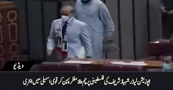 Palestine Flag In Neck, Shahbaz Sharif's Dabang Entry in National Assembly