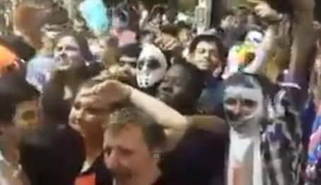 Participants Chanting Go Nawaz Go At Halloween Party in Australia