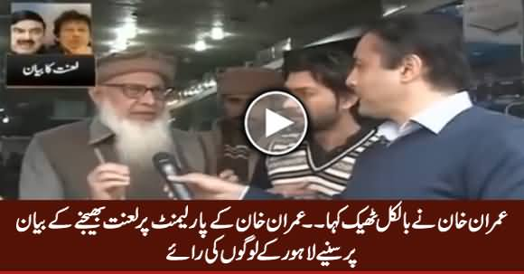 People of Lahore Expressing Their Views on Imran Khan's Statement About Parliament