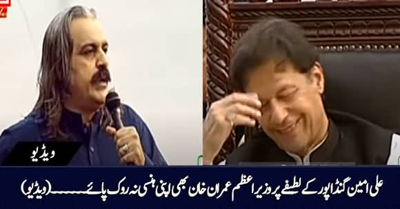 Ali Amin Gandapur Cracked A Joke in His Speech, PM Imran Khan Couldn't Control His Laughter