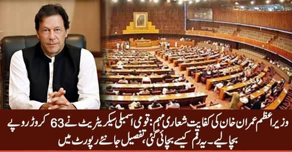 PM Imran Khan's Austerity Drive: National Assembly Secretariat Has Saved 63 Crore Rupees
