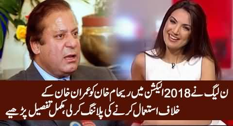 PMLN Planned To Use Reham Khan Against Imran Khan in Elections 2018