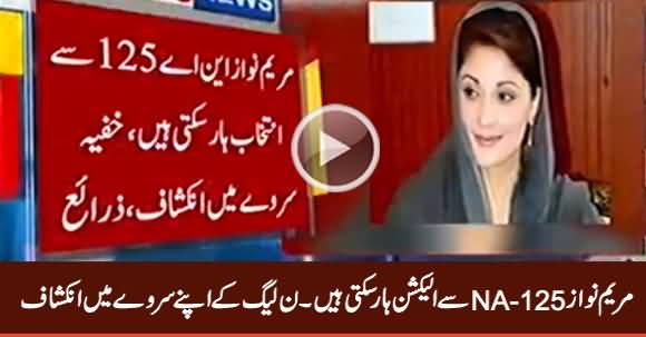 PMLN's Own Survey Reveals That Maryam Nawaz Can Lose Election From NA-125