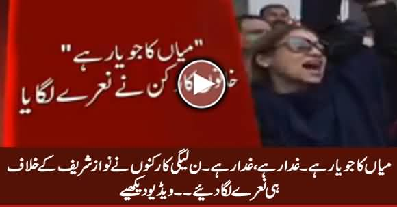 PMLN Workers Raising Slogans Against Nawaz Sharif