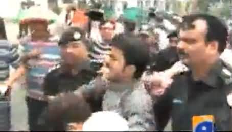 Police Arrested PTI Workers on Hunger Strike Dharna At Mall Road, Including Mehmood-ur-Rasheed