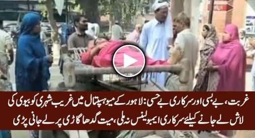 Poor Man Taking His Wife's Dead Body From Mayo Hospital Lahore on Donkey Cart