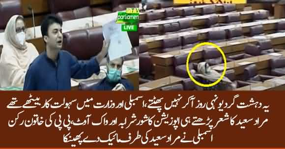 PPP Female MNA Throws Mic At Murad Saeed After His Bashing Speech In NA