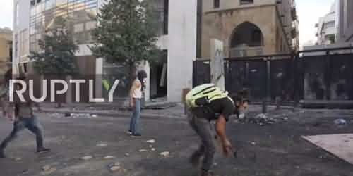 Protest In Beirut - Protesters Used Tennis Racket To Throw Stones On Security Forces