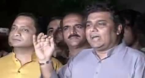 PTI Ali Zaidi Blasting Media Talk Against Altaf Hussain Outside Darakhshan Thana
