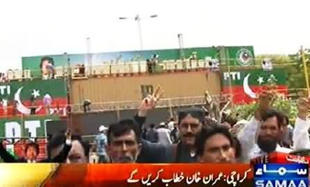 PTI All Set To Show Its Power in Karachi, Watch PTI Preparations For Jalsa