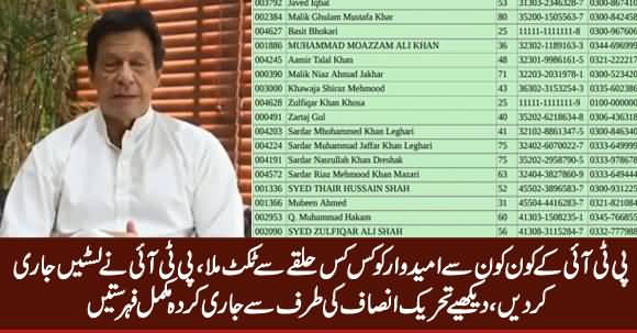PTI Candidates Official List For Election 2018, Constituency Wise Detailed List