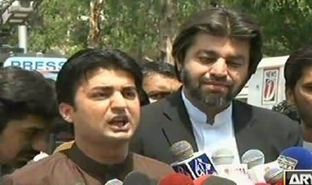 PTI MNA Murad Saeed and Muhammad Khan Talking to Media Outside Election Commission