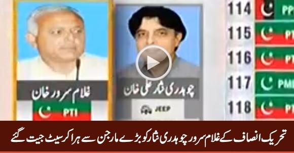 PTI's Ghulam Sarwar Khan Defeats Chaudhry Nisar With Huge Margin