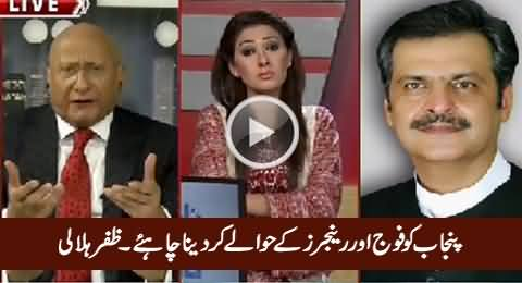 Punjab Should Be Handed Over To Army And Rangers - Zaffar Hilaly