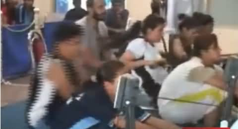 Punjab University Girls Taking Part in Fitness Contests Using New Exercise Machines