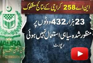 Rigging Proved in NA-258 Karachi - More Than 23000 Fake Votes - NADRA Issued Report