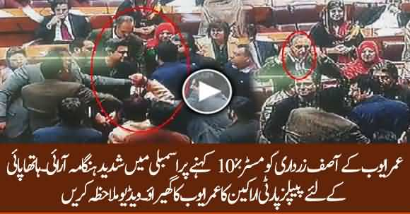Scuffle In National Assembly After Umar Ayub Called Asif Zardari Mr. 10 Percent