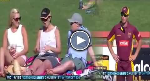 Sexual Gestures by the Girlfriend of Fielder Caught on Camera During the Match