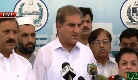 Shah Mehmood Qureshi Along PTI Members Talking To Media Outside Parliament – 4th August 2015