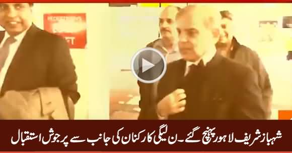 Shahbaz Sharif Reached Lahore, PMLN Workers Warmly Welcomed Shahbaz Sharif