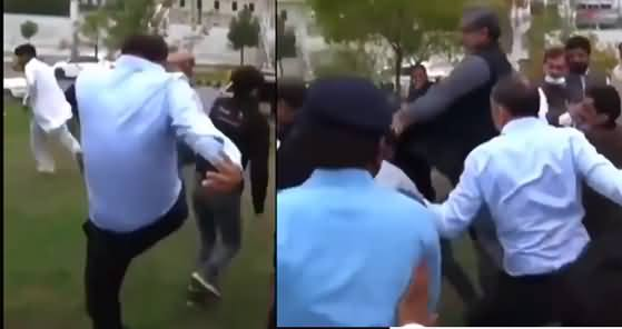 Shahid Khaqan Abbasi And Musadik Malik's Kung Fu Style Fight With PTI Supporters
