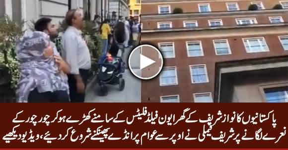 Sharif Family Throwing Eggs on Protesters Outside the Avenfield Apartments