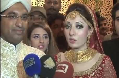 Sharmila Farooqi and Her Husband Hasham Riaz Talking To Media During Their Wedding Ceremony