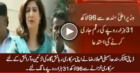 Shehla Raza Demands 96 Lakh Rs. For Renovation of Her Official Residence
