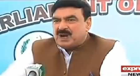 Sheikh Rasheed Ahmad Talking to Media About Azadi March and Dr. Tahir ul Qadri