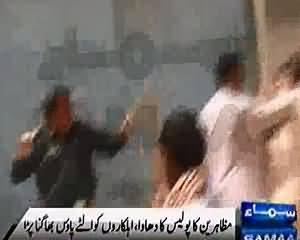 Shikarpur Police and SHO Bashir Bhopan Beaten Severly by the Protestors