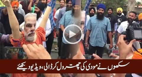 Sikh Khawateen Aur Mardon Ne Modi Ke Putley Ki Chitrol Kar Dali, Video Dekhiye
