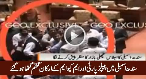 Sindh Assembly - PPP And MQM MPAs Get Physical During Proceedings