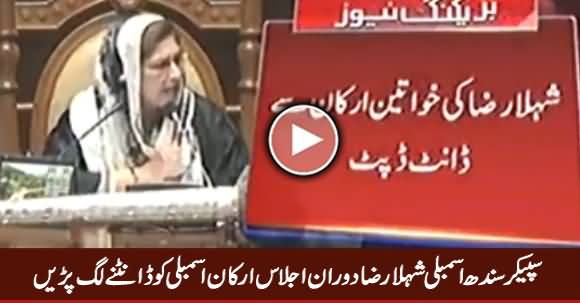 Speaker Sindh Assembly Shehla Raza Taunting Members During Assembly Session