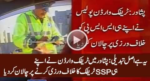 SSP Traffic in Peshawar Fined by Traffic Warden for Violating Traffic Signal