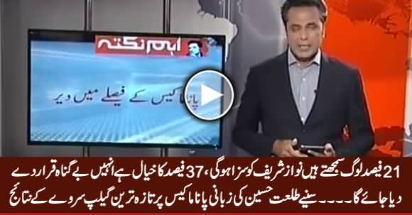 Talat Hussain Showing The Results of Latest Gallop Survey on Panama Case Expected Decision