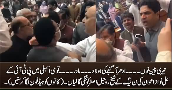 Teri Pain Nu .... - Fight Between PTI's Ali Nawaz Awan And PMLN's Sheikh Rohail Asghar in Assembly