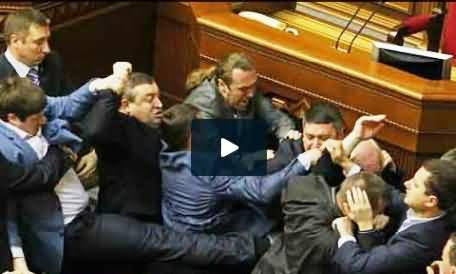 Ukraine Parliament Members Fighting and Beating Each Others in the Parliament