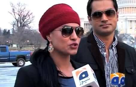 Veena Malik Enjoying Her Honeymoon in USA with Her Husband and Talking to Media