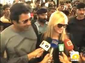 Wasim Akram Fiancee Shanira Saying Eid Mubarak to All Pakistan in Lahore
