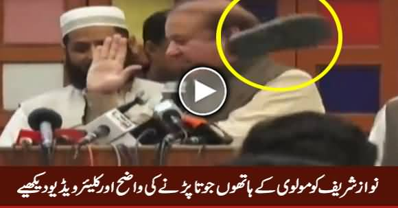 Watch Clear Video of Incident of Shoe Thrown At Nawaz Sharif