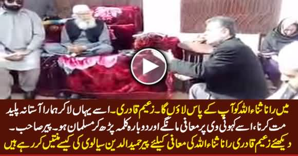 Watch How Zaeem Qadri Begging Forgiveness For Rana Sanaullah From Pir Hameed ud Din Sialvi