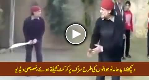 Watch Zaid Hamid Playing Cricket with Boys on Road, Exclusive Video