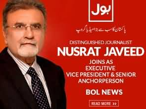 Well Known Journalist Nusrat Javed Joins BOL Network As Senior Anchorperson