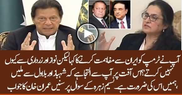 You Tell Trump To Reconcile With Iran, I Beg You To Do Same With Nawaz & Zardari- Naseem Zahra