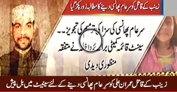 Zainab Ke Qaatil Ko Sar e Aam Phansi Dene Ke Liye Senate Mein Bill Paish