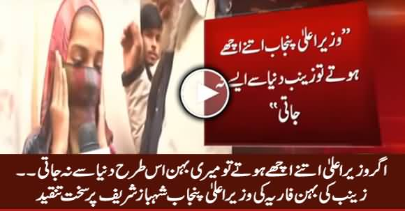 Zainab's Sister Faria Criticizing CM Punjab Shahbaz Sharif